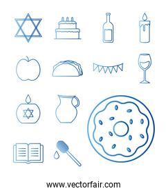 Hanukkah and jewish gradient style set of icons vector design