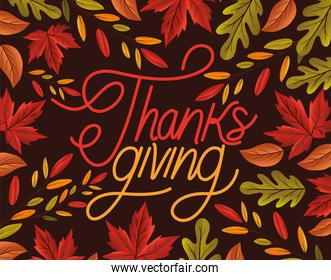 thanksgiving lettering with leaves vector design