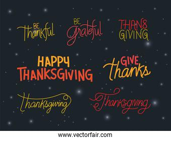 Happy thanksgiving lettering icon set vector design