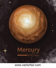 mercury planet milky way style icon vector design