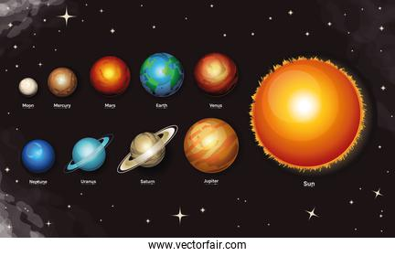 space and planet milky way style icon set vector design