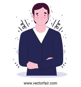 businessman young portrait cartoon employee character icon