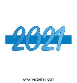2021 new year, blue numbers celebration banner