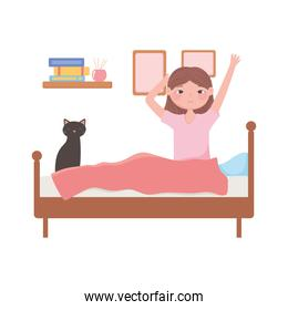 daily routine scene, waking up woman sitting with cat on bed