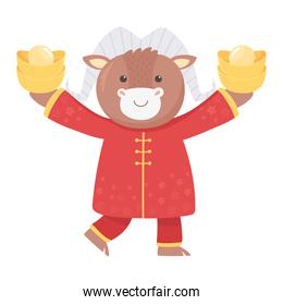 happy new year 2021 chinese, cartoon ox with clothes and gold