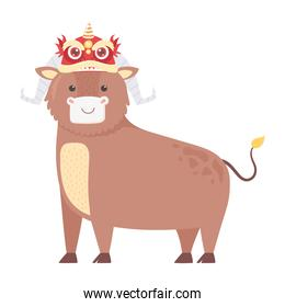happy new year 2021 chinese, cartoon ox with asian decoration on head