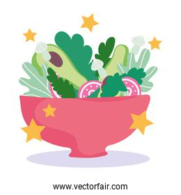 cooking, bowl with fresh salad vegetables, cartoon style