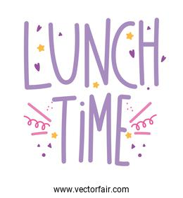 cooking lettering, handwritten text lunch time funny decoration