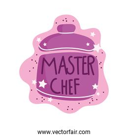 cooking lettering, hand drawn phrase master chef pot
