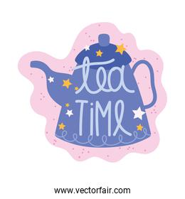 cooking lettering, hand drawn font tea time kettle