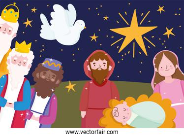 nativity, manger cartoon family wise kings pigeon and star