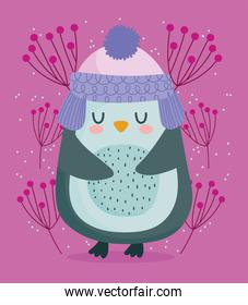 happy new year 2021, cute little penguin with foliage decoration