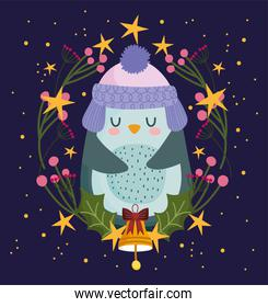happy new year 2021, cute penguin with bell and floral ornament