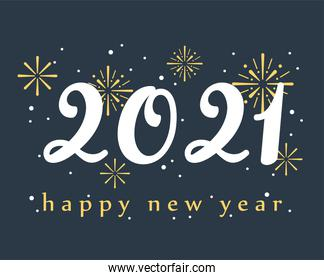 2021 happy new year, handwritten numbers and fireworks decoration card