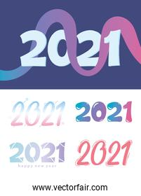 happy new year 2021 text design, set of cover or greeting cards