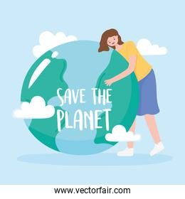 save the planet, woman hugs earth map with clouds