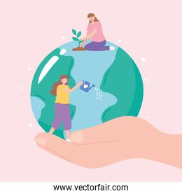 save the planet, hand with earth map, women planting and watering can
