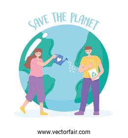 save the planet, woman and man care earth cartoon