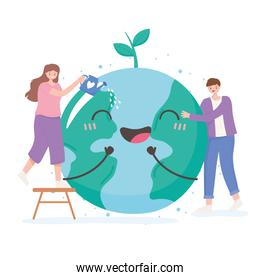 save the planet, man and woman with happy earth map cartoon