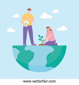 save the planet, couple on half earth map planting and recycle
