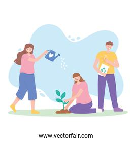 save the planet, people with watering can, planting plant and recycle products