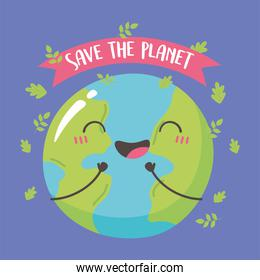 save the planet, happy smiling cute earth map cartoon