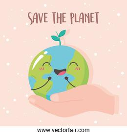 save the planet, hand with cute earth map cartoon