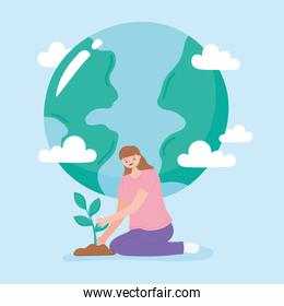 save the planet, young woman planting and earth map clouds cartoon