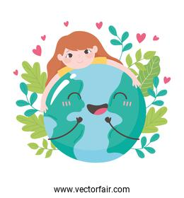 save the planet, little girl hugging earth map leaves and hearts