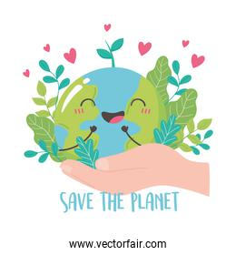 save the planet, hand holding cute earth map leaf hearts cartoon