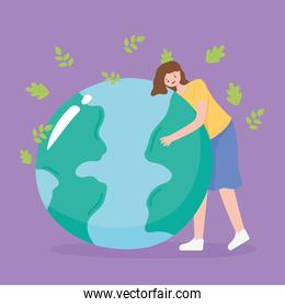 save the planet, falling leaves and girl with earth map