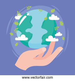 save the planet, hand holding world with leaves and clouds