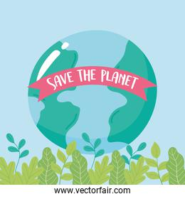 save the planet, earth map on leaves foliage ecology emblem