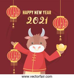 happy new year 2021 chinese, cute ox with lanterns and gold decoration card
