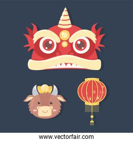 happy new year 2021 chinese, set icons lantern ox and dragon