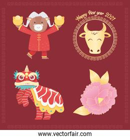 happy new year 2021 chinese, ox, dragon, flower icons