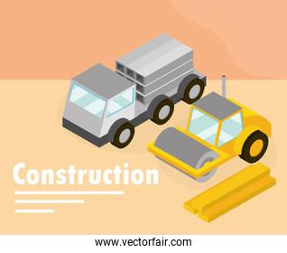construction road roller machine and truck isometric