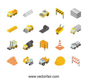 construction isometric set icons, truck, machine, brick, barrier, helmet and more