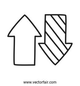 up down arrows icon, line style