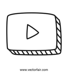 video player icon, line style