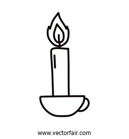 candle on a mug icon, line style