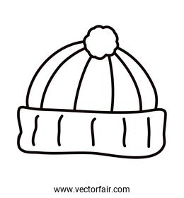 winter hat icon, line style