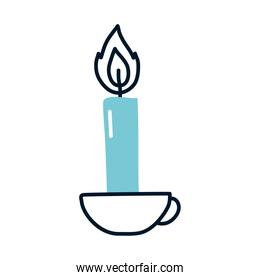 candle on a mug icon, half line half color style