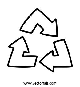 recycle arrows icon, line style