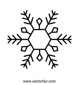 winter snowflake icon over white background, line style