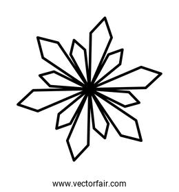 floral and abstract snowflake icon, line style