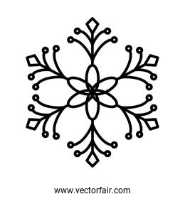 floral snowflake icon, line style