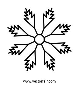 snowflake icon over white background, line style