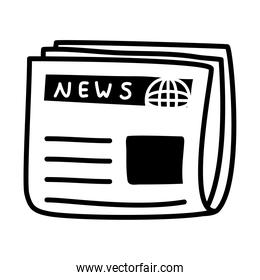 newspaper icon image, silhouette style