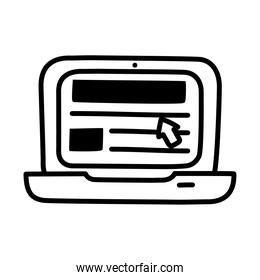 laptop computer icon, silhouette style